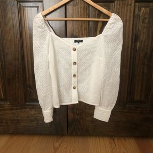 Tops - FRNCH Puff Shoulder Long Sleeve Top